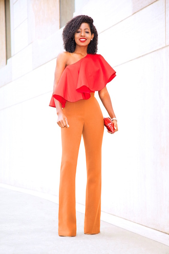 blogger top pants bag shoes blouse red top orange pants red bag clutch