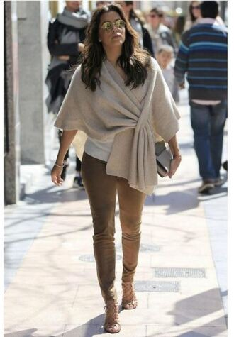 shoes sandals eva longoria camel poncho spring outfits pants