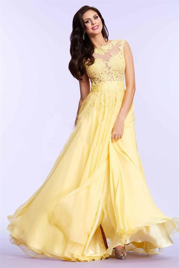 Dress: prom dress, evening dress, yellow dress, 2015 evening gowns ...