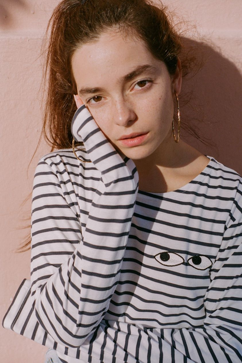 O&F Navy Stripe Embroidered Eyes Tee