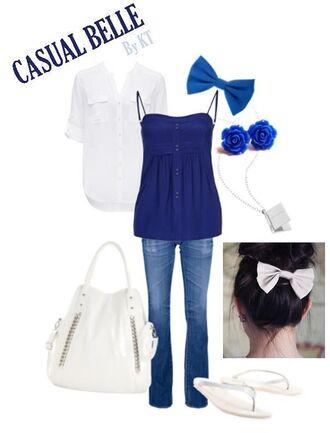 blouse bows bow blue shirt blue blue jeans rosebud earrings button up blouse disney princess disney