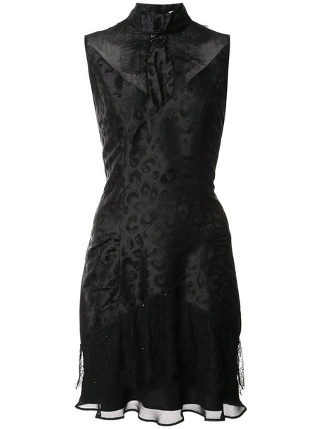 Olivier Theyskens dress sheer high women high neck black silk