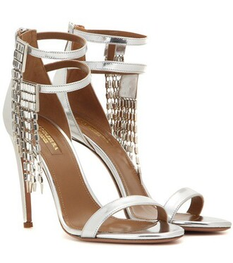 metallic embellished sandals leather sandals leather silver shoes