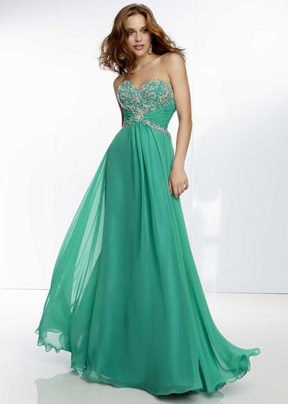 green dress elegant dress long prom dresses 2014