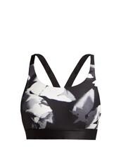 bra,sports bra,floral,white,print,black,underwear