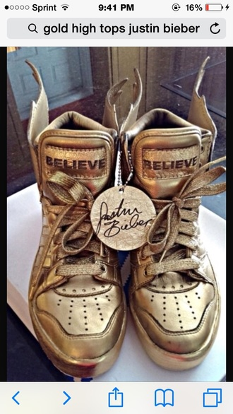 shoes gold justin bieber gold shoes high top sneakers