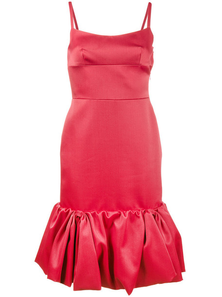Prada dress midi dress ruffle women midi silk wool red