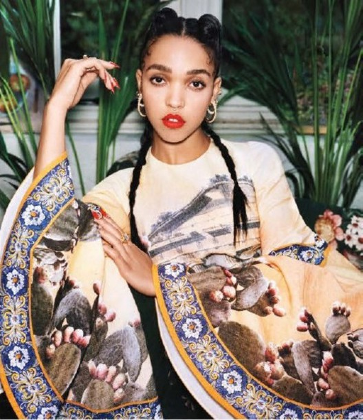 blouse baroque wide sleeves white cactus print fka twigs