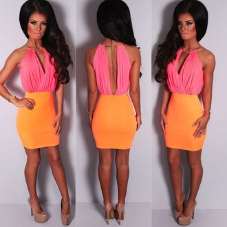 dress pink boutique mini dress neon coral orange