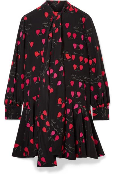Alexander Mcqueen dress mini dress bow mini black silk