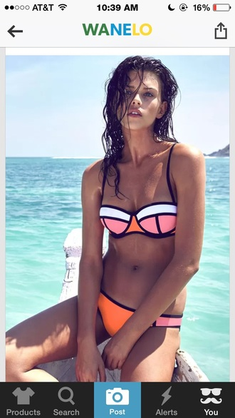 swimwear neon pink orange white style neon bikini bikini bikini bottoms black bikini bikini top orange swimwear