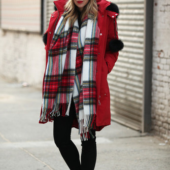 scarf jeans red coat tartan blogger brooklyn blonde make-up scarf red