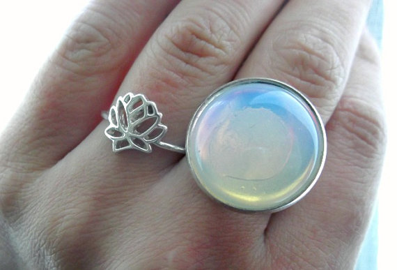 The Opal Light Ring - Opal Moonstone - Opalite - Silver Filigree Ring - Adjustable Band