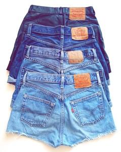 A Levi's Blue Stonewash Denim High Waisted Shorts Bargain Sale | eBay