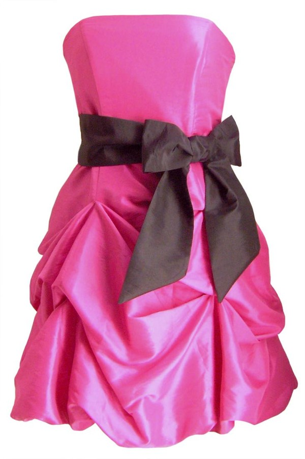 dress pink bow high-low dresses gradation