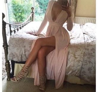 dress pink slit heels boobs maxi dress with slits long dress long sleeves long sleeve dress maxi dress