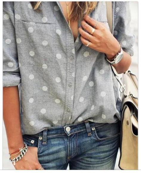 grey shirt polka dots