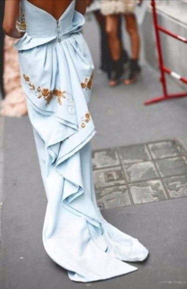 baby blue dress long prom dresses blue dress strapless dress gold embroidered long train dress gathered dress floor length dress maxi dress formal dresses