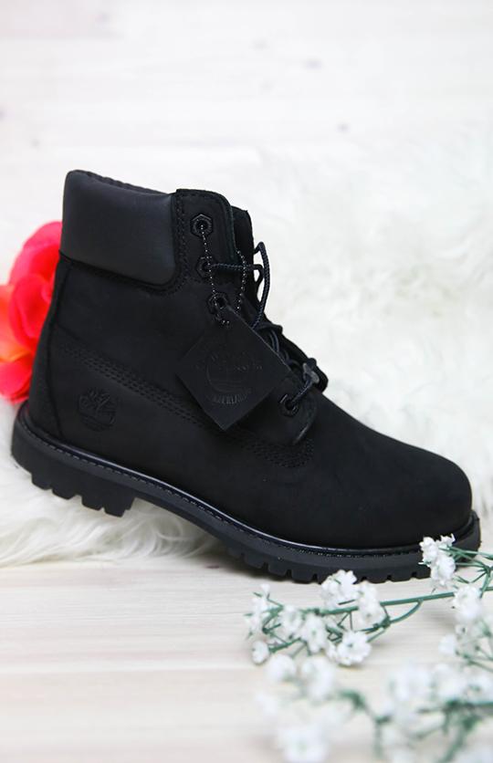 Timberland 6 Inch Premium Waterproof Black Nubuck Women's