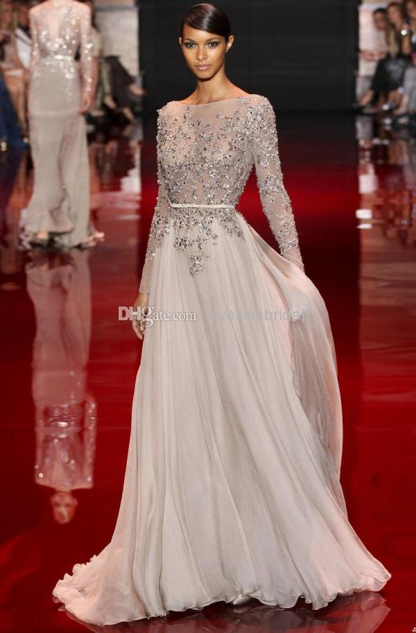 Discount 2014 Distinctive Appliques And Sequins Decorated Elie Saab Prom Dresses Floor-Length Sheer Bateau Backless Long Sleeve Evening Gowns Cheap Online with $130.9/Piece | DHgate