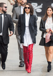 shirt,shift dress,white shirt,dress,mila kunis,boots,red boots,over the knee boots,jacket,fall outfits,celebrity,shoes
