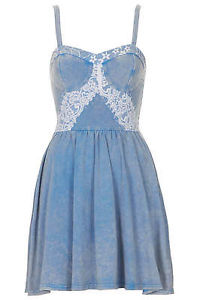 Topshop denim lace corset tunic dress sundress flippy uk 10 38 us 6 bnwt