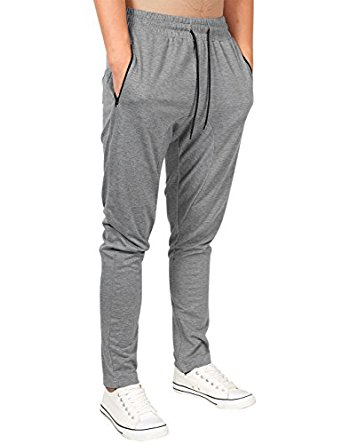 Yong Horse Men's Casual Active Wear Zipper Pockets Drawstring Waist Slim Fit Open Bottom Joggers Sweatpants at Amazon Men's Clothing store: