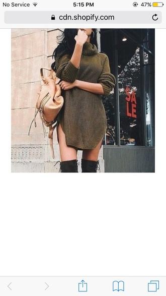 dress tumblr instagram knitwear knit sweater dress turtleneck turtleneck dress olive green khaki fall outfits