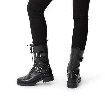 Kurt Geiger London Sting - Black Leather Lace Up Biker Boots