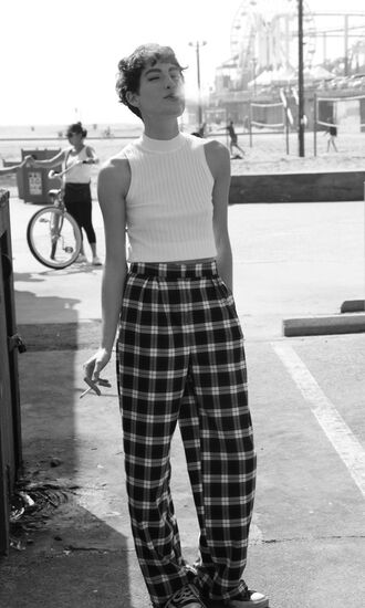 pants plaid bo plaid tartan checkered pantalon wide-leg pants