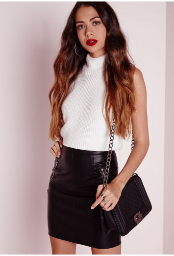 Zip Detail Faux Leather Mini Skirt Black
