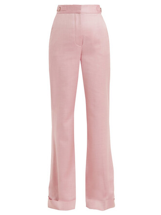 silk wool pink pants