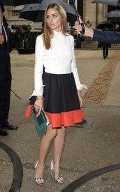 skirt,olivia palermo,shoes,bag,dress