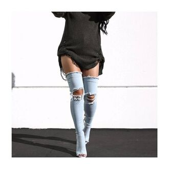shoes tumblr denim boots denim shoes boots peep toe boots over the knee boots thigh high boots ripped sweater black sweater