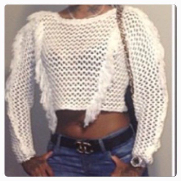 sweater knit crop net see through cream white te
