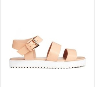 shoes white soles cleated sole sandals coral strappy cute