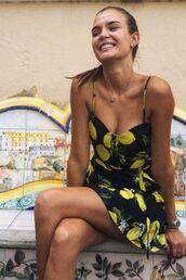 dress,lemons,josephine skriver,instagram,model off-duty,summer,summer dress