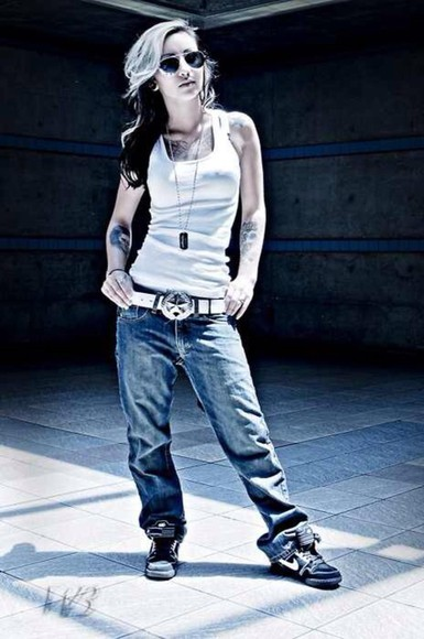 earrings white necklace sexy jeans sunglasses wife beater nike running shoes nike sneakers black Belt sexual
