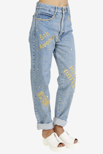 jeans denim embroidered mom jeans