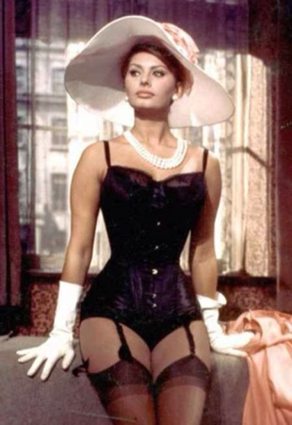 Underwear: corset, suspenders, black suspender tights, black, black corset, pearl, white pearl ...