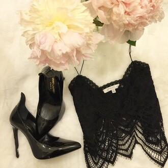 blouse black crop tops dentelle sexy shirt