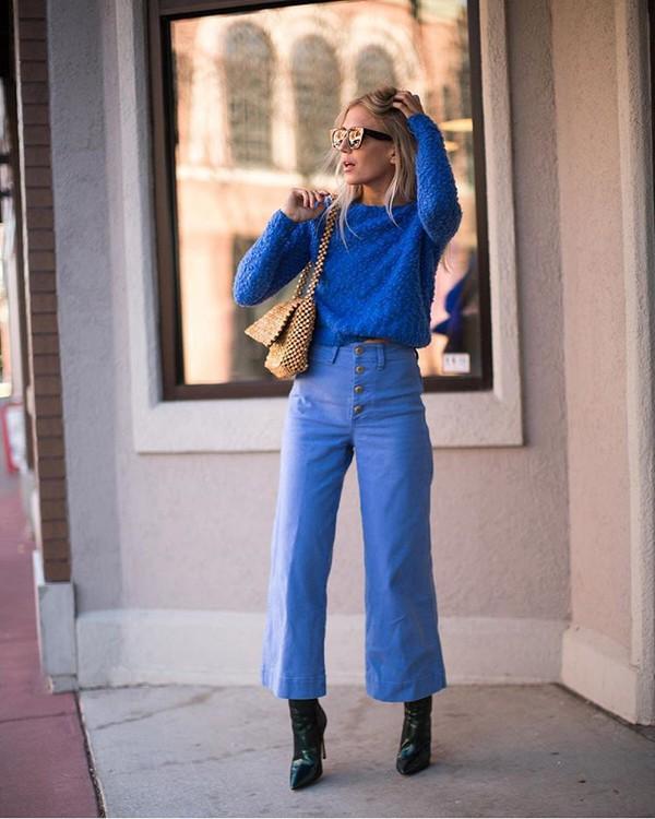 pants wide-leg pants blue sweater ankle boots heel boots bag sunglasses