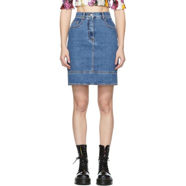 MSGM Blue Denim Multiple Pockets Miniskirt