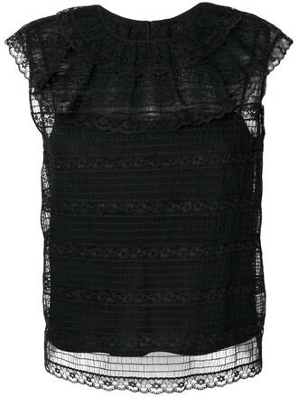top women shell lace black