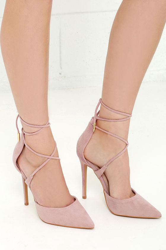 b2294afa19f LULUS Michele Dusty Rose Lace-Up Heels