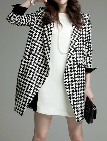 Black White Long Sleeve Houndstooth Coat - Sheinside.com
