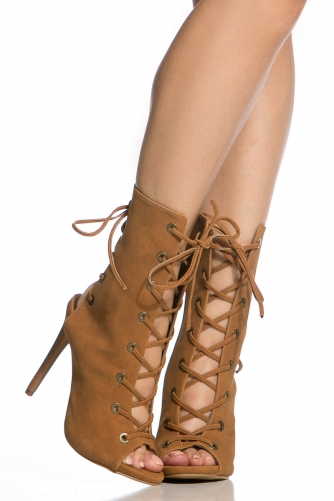 Faux Suede Double Lace Up Open Toe Booties @ Cicihot Heel Shoes ...
