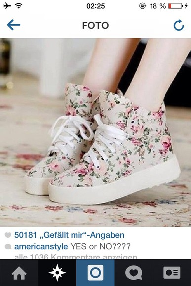 floral pattern cute shoes sneakers floral print shoes all cute outfits plateau shoes