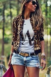 jacket,leopard print,la,denim,shorts,short,belt,black,gold,long hair,cute,summer,black sunglasses,leopard print coat,white t-shirt,cut off shorts,cuffed shorts,gold accessory,stacked jewelry,stacked bracelets,cute outfits,cute shorts,summer outfits,shirt