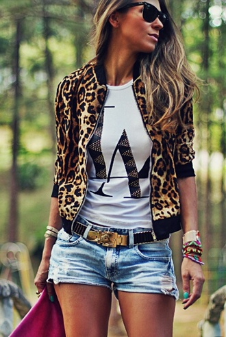 jacket la denim shorts short belt black gold long hair cute summer black sunglasses leopard print leopard print coat white t-shirt cutoff shorts cuffed shorts gold accessory stacked jewelry stacked bracelets cute outfits cute shorts summer outfits cute summer shirt